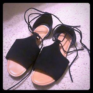 Black lace up sandals